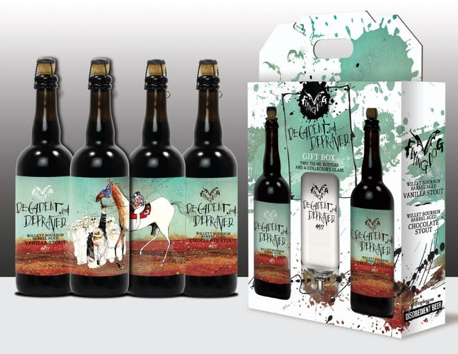 """Flying Dog Brewery celebrates the 50th anniversary of """"The Kentucky Derby is Decadent and Depraved"""" by  Louisville native Hunter S. Thompson and illustrated by Ralph Steadman.   """"Decadent andDepraved"""" is a limited edition gift boxfeaturing Steadman's artwork and stouts aged in Kentuckybourbon barrels."""