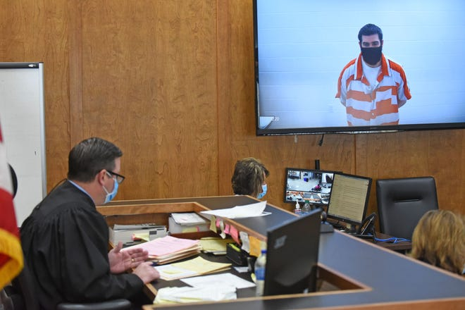 Matthew McBride, appearing in court by video, pleads no contest Monday to four counts of vehicular homicide and five counts of vehicular assault from a May 5, 2019 crash at Ganges Five Points and Ohio 96.