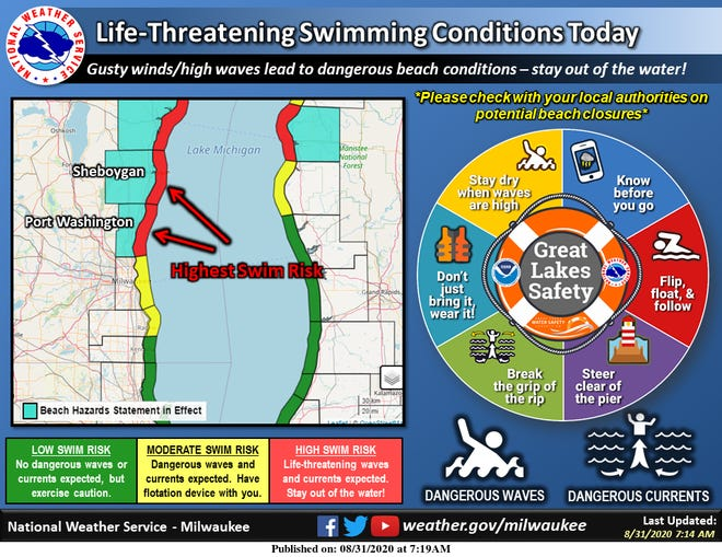 Life-threatening swimming conditions are expected along Lake Michigan on Monday and authorities are warning people to stay out of the water.