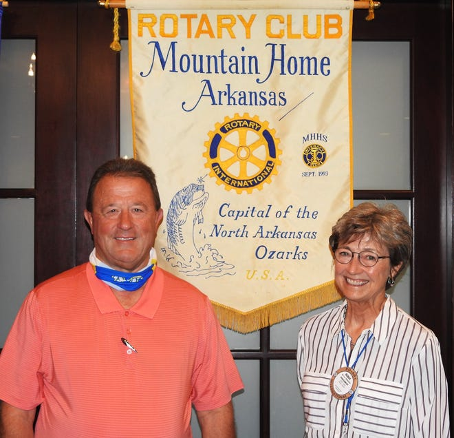 Mountain Home Mayor and fellow Rotarian Hillrey Adams addressed the Mountain Home Rotary Club on Thursday, Aug. 27. Adams thanked his home club for all they had done to make the new Baxter Summer Concert Series so successful, by coordinating the vendors and working throughout the evening in various capacities. In speaking about the different facets of the city, Adams talked about the upswing in sales tax funds over this time last year; the Public Safety Tax for the police and fire departments; planned street work; future water projects; and the proposed improvements of our city parks, of which Rotary's Hickory Park is one. Pictured above are Mountain Home Mayor and Rotarian Hillrey Adams (left) and MH Rotary President Renae Schocke.