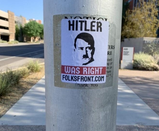 One of several anti-Semitic posters found on the ASU Tempe campus on Aug. 30, 2020.