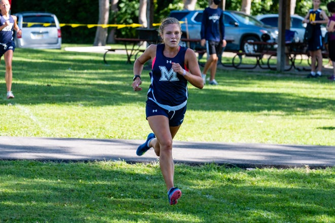 Marysville junior Hannah Fisher runs in the Skipper Early Bird Invite Monday, Aug. 31, 2020, at Marysville Municipal Park. Fischer placed first in the girls' race.
