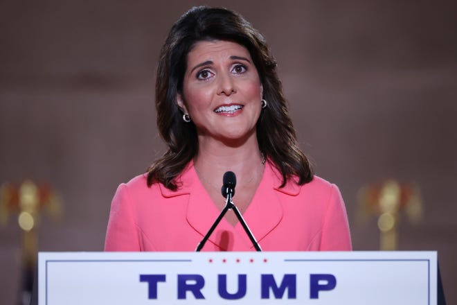 Former U.S. Ambassador to the United Nations Nikki Haley stands on stage in an empty Mellon Auditorium while addressing the Republican National Convention at the Mellon Auditorium on Aug. 24, 2020 in Washington, D.C. (Chip Somodevilla/Getty Images/TNS)