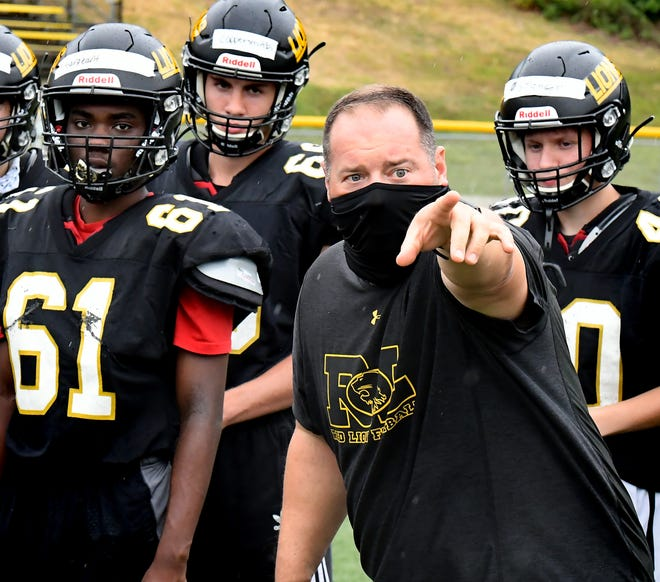 Red Lion head coach Jesse Shay directs his team through its first practice of the season Monday, August, 31, 2020. Bill Kalina photo