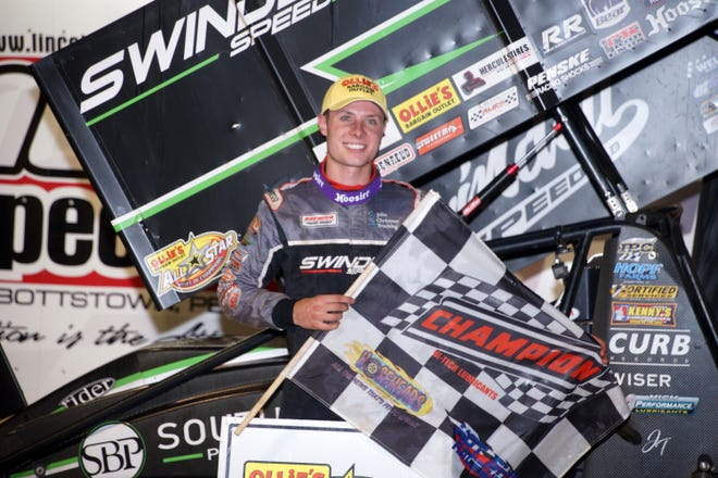 Spencer Bayston is shown after his win Saturday night at Lincoln Speedway.