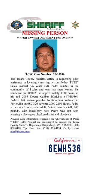 """Tulare County deputies are searching for Pedro """"Pete"""" Salas Pasqual. He went missing on Sunday, August 30, 2020."""