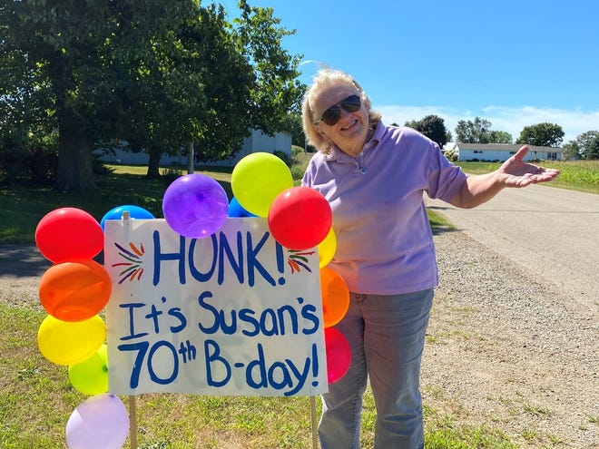 Susan's birthday sign was sure to get attention from passing friends and neighbors.