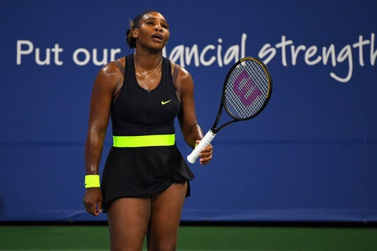 Serena Williams reacts during a match against Maria Sakkari during the Western & Southern Open at the USTA Billie Jean King National Tennis Center. Williams lost in three sets.