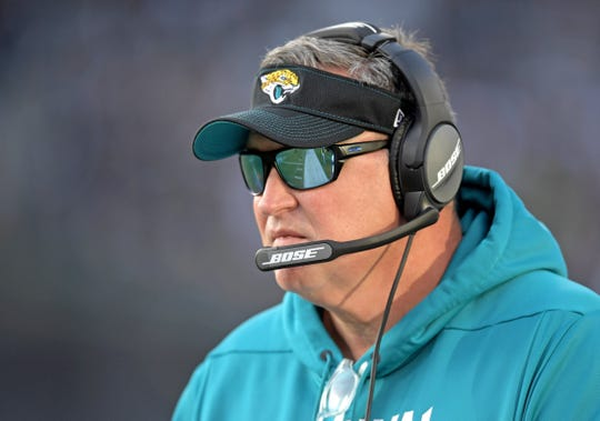 Jacksonville Jaguars head coach Doug Marrone watches a game from the sidelines against the Oakland Raiders.