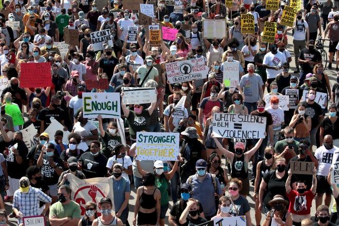 Protesters on Aug. 29, 2020, in Kenosha, Wisconsin.