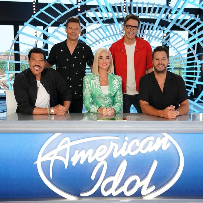 """""""American Idol"""" hosts and judges joined together for the kickoff of the 2019-20 season of the popular ABC show. The judges are, from left: front row, Lionel Richie, Katy Perry and Luke Bryan. In back are host Ryan Seacrest, left, and mentor Bobby Bones. The show is now doing virtual recruitment of contestants for its upcoming season. [AP file]"""