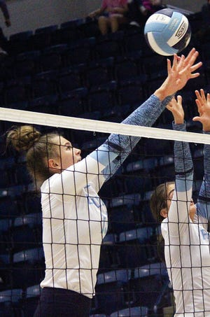 Mia Otten is a third-year varsity starter fort he Bartlesville High School volleyball team and one of the state's most dangerous hitters.