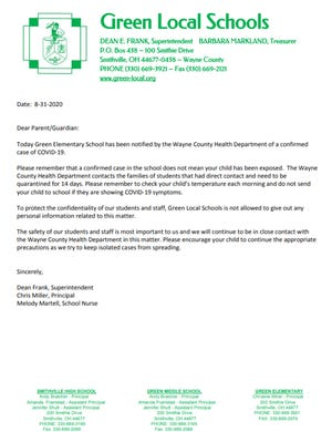 Green Local sent a letter to parents, sharing news of a confirmed case of COVID-19.