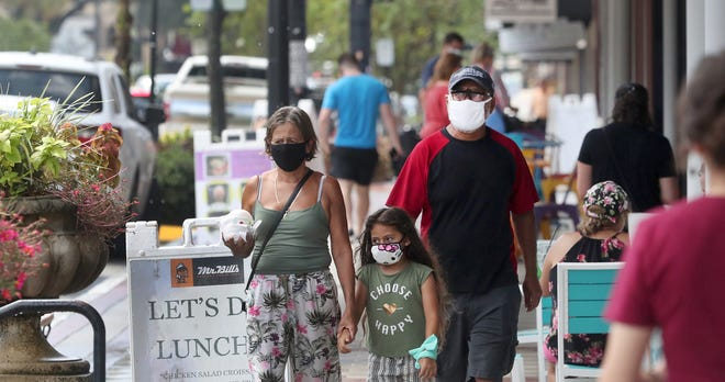 People don masks as they walk in downtown DeLand on Tuesday, Sept. 1, 2020. While the city's mask mandate doesn't require face coverings be worn outdoors, they are supposed to be worn while inside businesses.