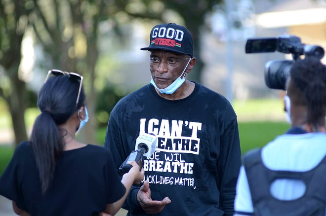 Glenn Price speaks during an interview after the July 11 march and rally held in Donaldsonville.
