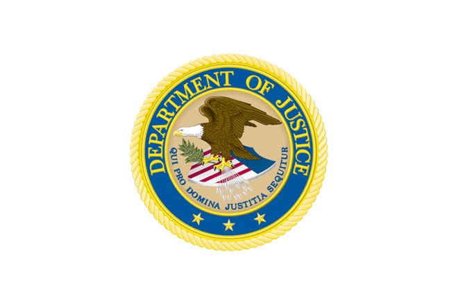 File photo of the U.S. Department of Justice seal.