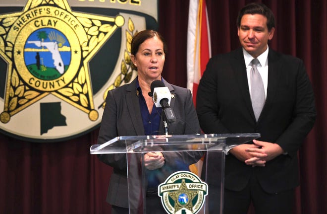 Newly elected Michelle Cook is appointed by Gov. Ron DeSantis to immediately take office as Clay County sheriff. She replaces Matt Walsh, who was serving on an interim basis after the arrest and suspension of Darryl Daniels.