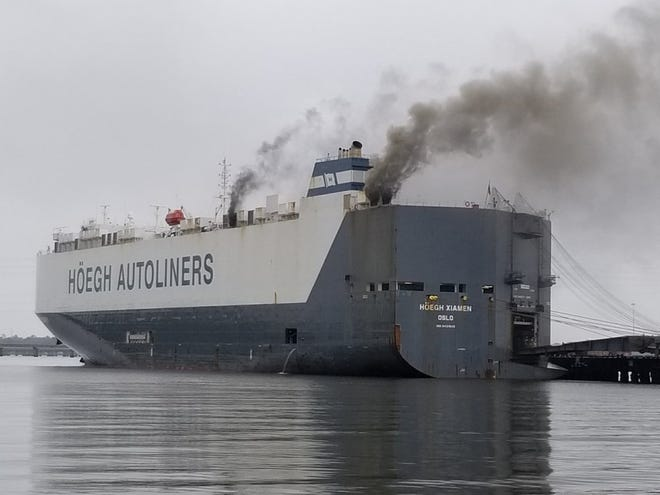 Smoke billowed for days from the M/V Hoegh Xiamen as flames burned beneath the surface of the totaled car carrier at Jacksonville's Blount Island in June.