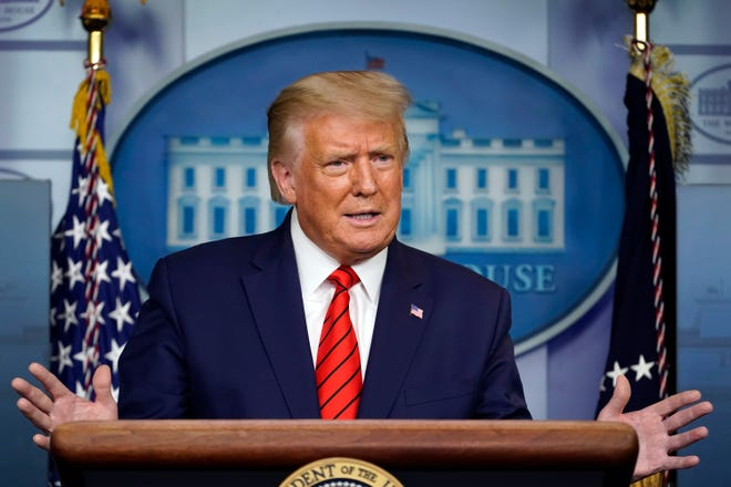 President Donald Trump speaks at a news conference in the James Brady Press Briefing Room at the White House on Monday.