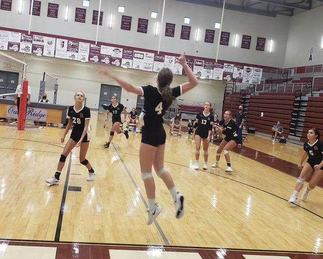 Junior outside hitter Alex Shanafield goes up to spike the ball against Powell. She had a team high six kills, earning her player of the match honors from her coach.Special to The Oak Ridger