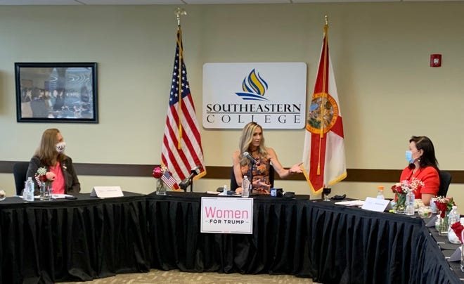 "Speaking at a Women for Trump roundtable in West Palm Beach, Lara Trump - the president's daughter-in-law - said she is ""100 percent comfortable"" about sending her toddler back to school amid the coronavirus pandemic. Trump, who is married to the president's son Eric, was the only person not wearing a mask at the event on Sept. 1."