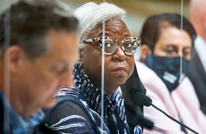 County Administrator Verdenia Baker discusses the proposed steps for Phase 2 of reopening during Tuesday's Palm Beach County Commission meeting. [LANNIS WATERS/palmbeachpost.com]
