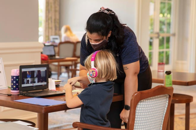 The Country Club at Mirasol has started a distance learning program for about two dozen children of club members. The club has repurposed space in its grand clubhouse for the program, and has hired two educators to oversee it.