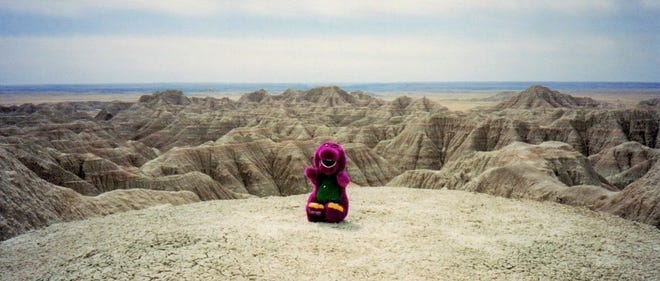 The Social Butterfly captures a photo of Barney in the Badlands on April 10, 1994 in S.D.