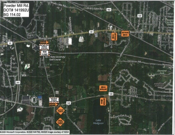 Detour map for Powder Mill Road
