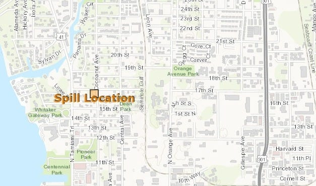 A Florida Department of Environmental Protection map shows the site of a sewage spill in Sarasota on Aug. 31, 2020.