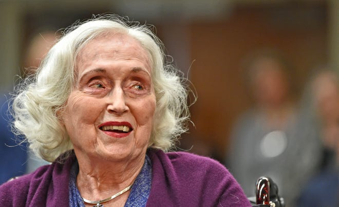 Patricia Glass' influence was so significant in Manatee County that county commissioners named the County Commission Chambers in her honor in 2018. She died Tuesday at 93. [HERALD-TRIBUNE STAFF PHOTO / THOMAS BENDER]