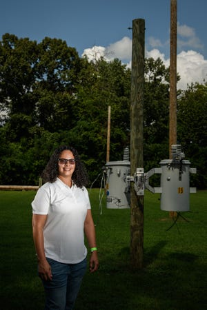 Jacqueline Montero is the first woman to graduate from FTCC's basic training course for electric utility line workers.