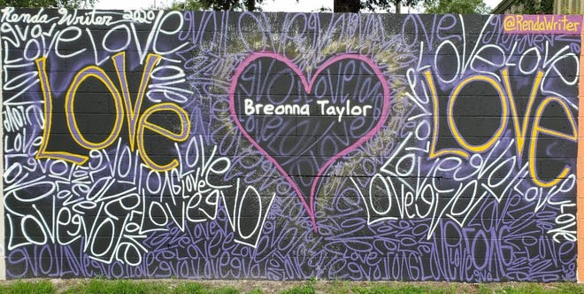 Photo of part of a social justice mural on a wall in the Gainesville Power District in southwest Gainesville.