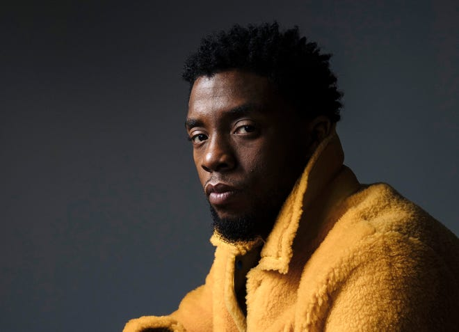 "FILE - In this Feb. 14, 2018 photo, actor Chadwick Boseman poses for a portrait in New York to promote his film, ""Black Panther.""  Boseman, who played Black icons Jackie Robinson and James Brown before finding fame as the regal Black Panther in the Marvel cinematic universe, has died of cancer. His representative says Boseman died Friday, Aug. 28, 2020 in Los Angeles after a four-year battle with colon cancer. He was 43. (Photo by Victoria Will/Invision/AP, File)"