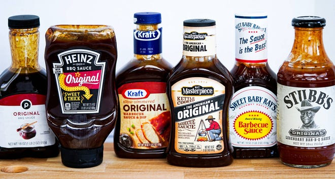 Assorted bottles of barbecue sauces used in the taste test