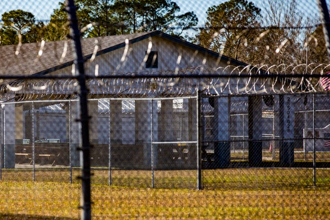 The fence outside a prison in Florida.