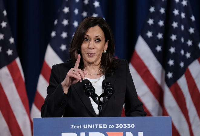 In this file photo, Democratic Vice Presidential nominee Sen. Kamala Harris (D-CA.), delivers remarks during a campaign event on August 27, 2020 in Washington, DC. Harris was a member of Alpha Kappa Alpha during her time at Howard University sorority. (Michael A. McCoy/Getty Images/TNS)