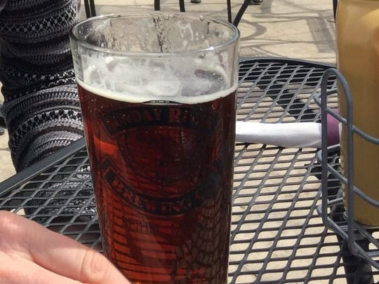 A beer on the patio at Sunday River Brewing Co. in Bethel, Maine.