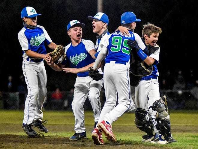 Second-seeded Colchester celebrates after the final out of its 9-2 win over fourth-seeded St. Johnsbury to claim the Vermont Little League 11-12-year-old state baseball championship at Legion Field on Monday, Aug. 31, 2020.