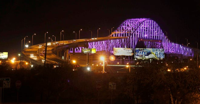 Corpus Christi residents were treated to a sneak preview of the new lights along the Harbor Bridge as the city tested the lights in preparation of Sunday, Dec 4, 2012 official unveiling of a new lighting system. The programmable $2.2 million lighting system, which includes 950 LED lights will cover the bridge in a array of colors and patterns.