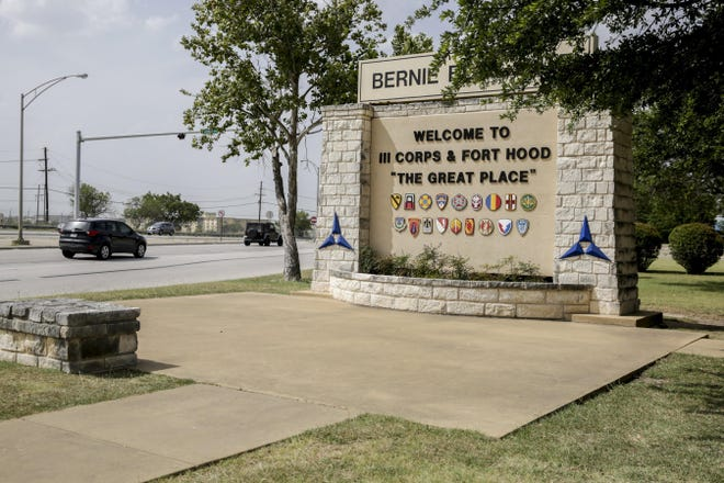A welcome sign can be seen at the entrance of III Corpus and Fort Hood in Kileen.