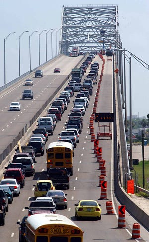 Traffic creeps up the Harbor Bridge in Corpus Christi on July 29, 2004.