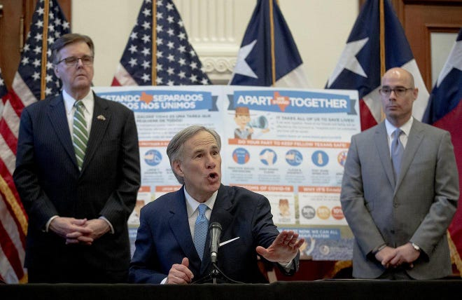 Lt. Gov. Dan Patrick, left, Gov. Greg Abbott and House Speaker Dennis Bonnen, R-Lake Jackson, in May asked state agencies to reduce their budgets by 5%,
