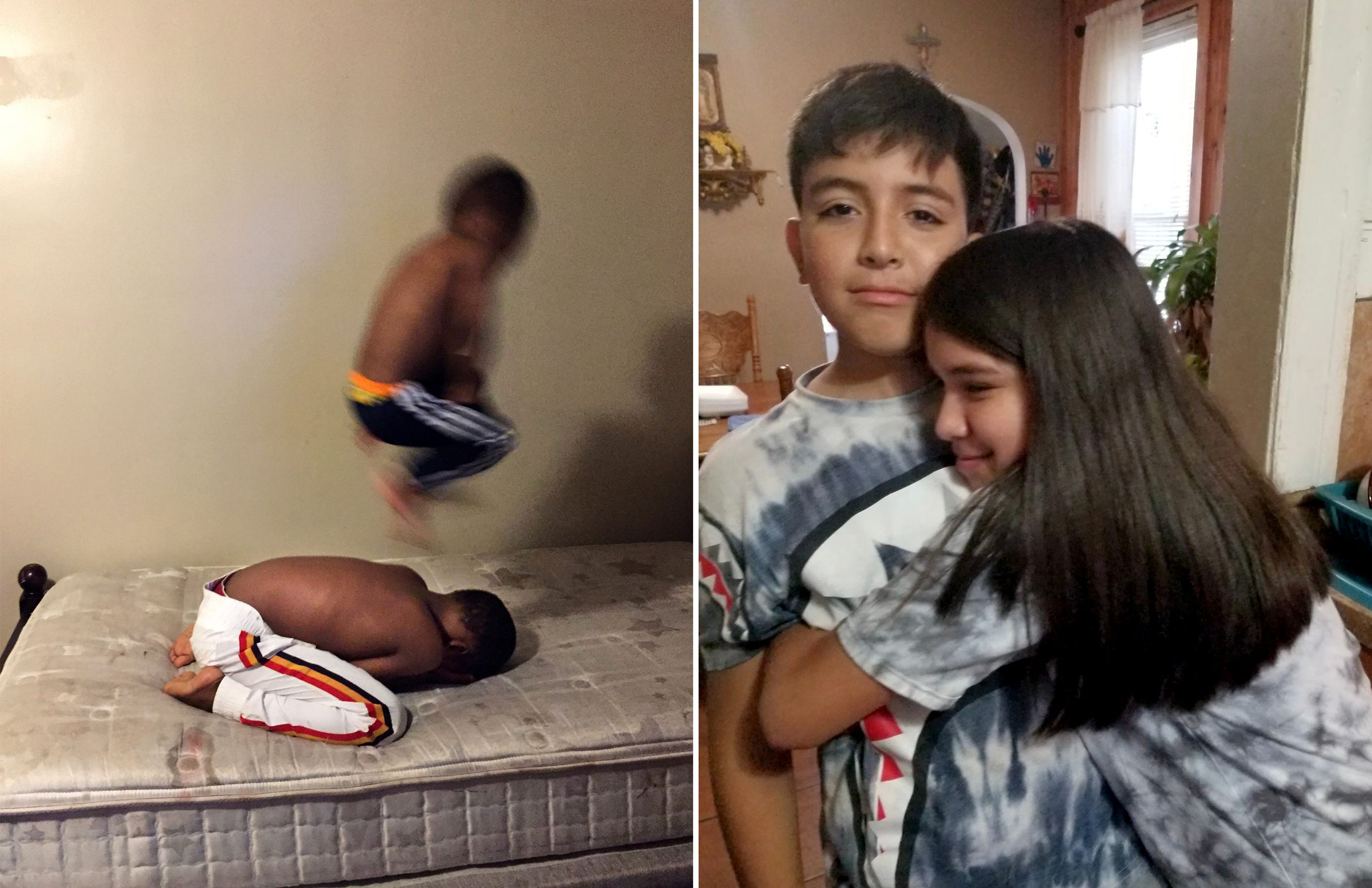 Left: I tried to capture a decisive moment of my nephews,  Logan, 4, and Tevin, 9, playing leapfrog at home after seeing a photograph of a man jumping across a puddle made by French photographer Henri Cartier-Bresson. Right: As my mom is cooking, my sister Juliana Delarosa, 14, hugs our brother Carlos Delarosa, 13, in our home in Detroit on June 4, 2020. Because it's rare to hug my siblings, my mom wants to save this picture.