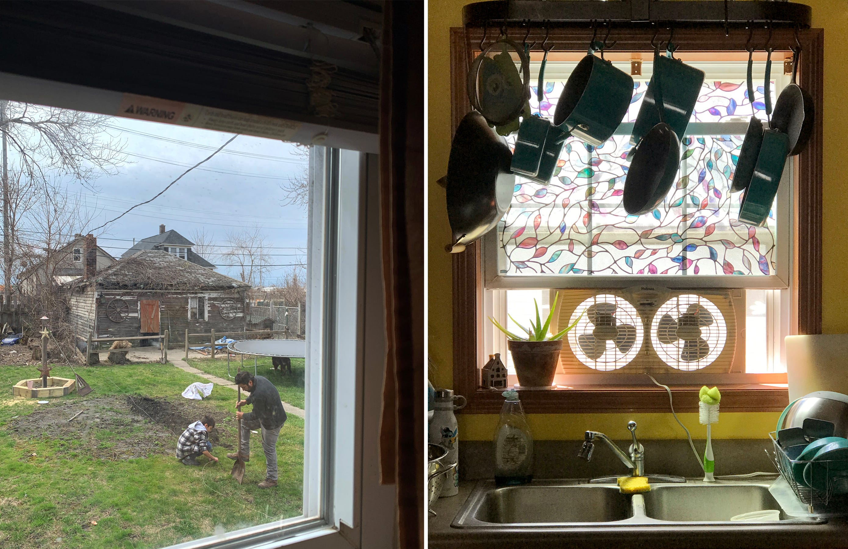 Left: My brother Christopher Ruiz, 12, and father Angel Ruiz, 43, build a garden in our backyard in Detroit on April 4, 2020. Most of our days during quarantine were filled with home improvements and hard work but most importantly, tons and tons and bonding time.  Right: Pots and pans hang above the sink in our kitchen at home in Detroit on June 12, 2020.