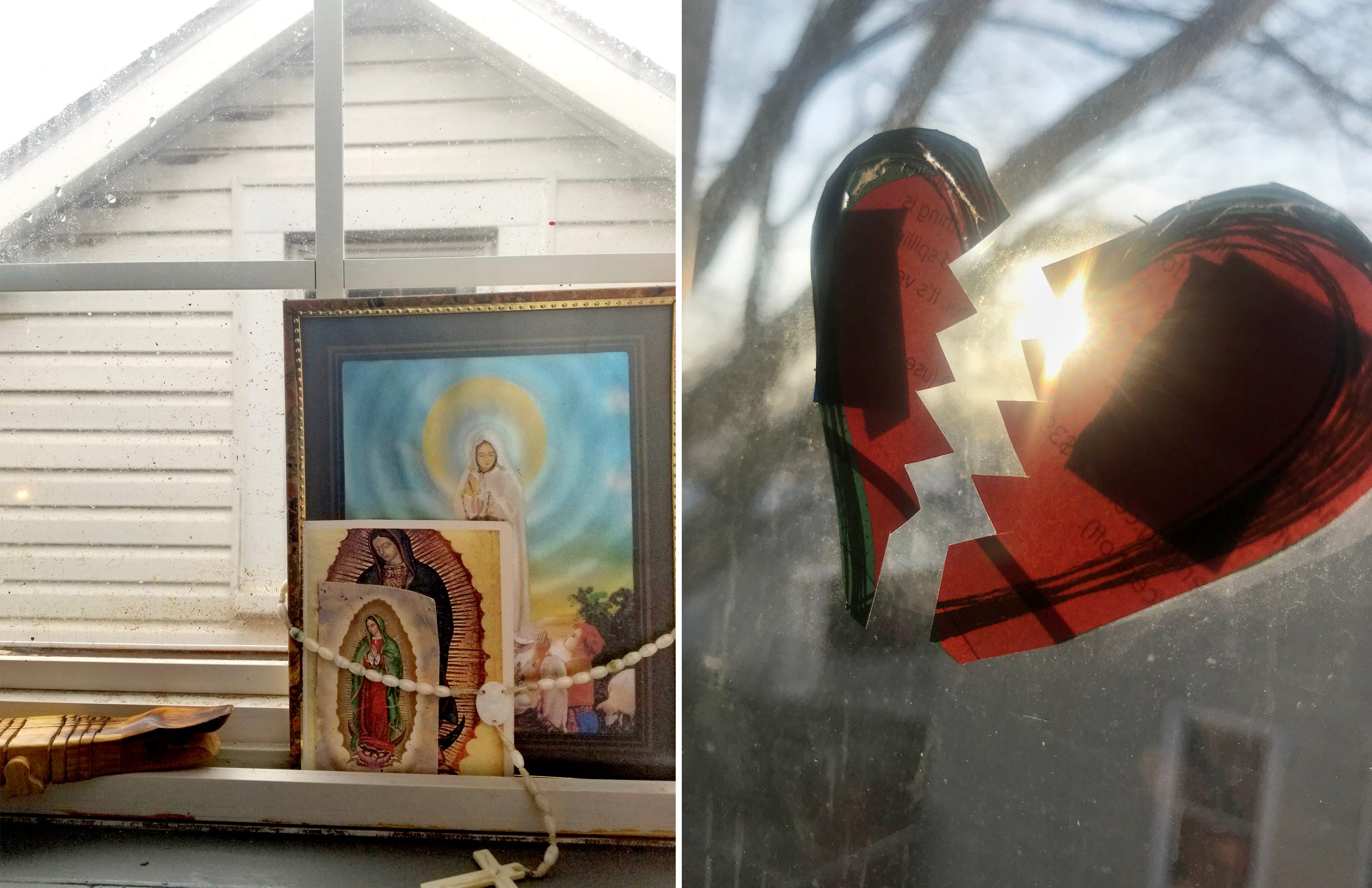 Left: When I got my new bedroom the first thing I put there was a picture of the Virgin Mary. The Virgin Mary is very important to me because it gives me faith and protection.  Right: The rising sun shining through my bedroom window  illuminates a picture of a heart that I cut out of a magazine on April 6, 2020. I wanted to portray the sunset in a different way so I added this heart and broke it in half. This photograph could be anything you interpret to be. If you don't pay attention to what is around you, you'll feel alone or maybe that if you only focus on the darkness you can't focus on the light.