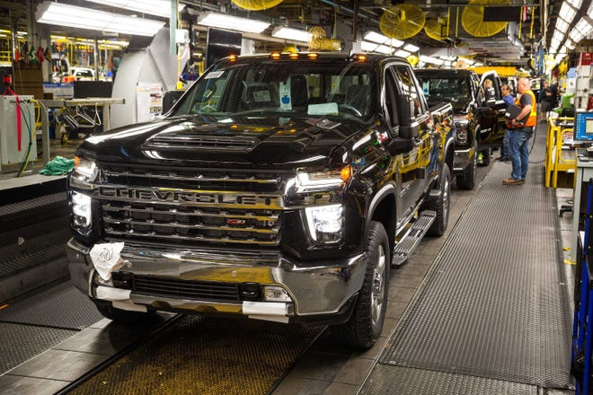 A Chevrolet Silverado full-size pickup truck is ready to roll off the assembly line on June 12, 2019, at the General Motors Flint Assembly Plant in Flint, Michigan. The company hopes to return to full production capacity by June 1 after a shutdown in response to COVID-19,