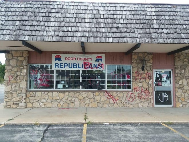A 19-year-old man allegedly defaced the Republican Party of Door County's office on Sunday morning.