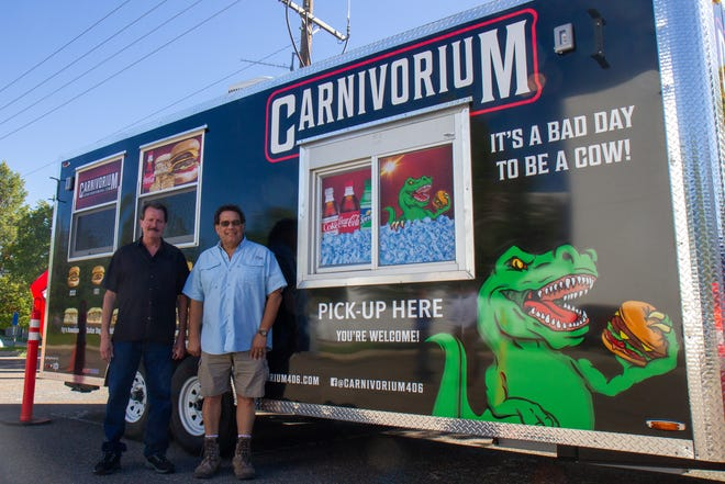 Dave Snuggs, right, and business partner Tom Kelley, will open up Carnivorium, a mobile drive-thru restaurant in Great Falls on Wednesday, Sept. 9. Carnivorium will be open at six different locations across town through the week and 8% of gross daily sales will go to benefit a variety of local organizations.
