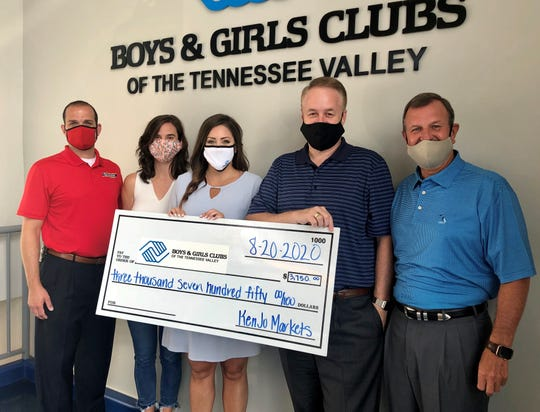 Cherokee Distributing Company and KenJo Markets present a check for $3,750 to the Boys & Girls Clubs of the Tennessee Valley. Pictured from left: Casey Cash and Lauren Sampson of Cherokee Distributing Company; Bridget Jones of the Boys & Girls Clubs of the Tennessee Valley; Wes Carruthers of KenJo Markets; and Jeff Knight of Cherokee Distributing Company.